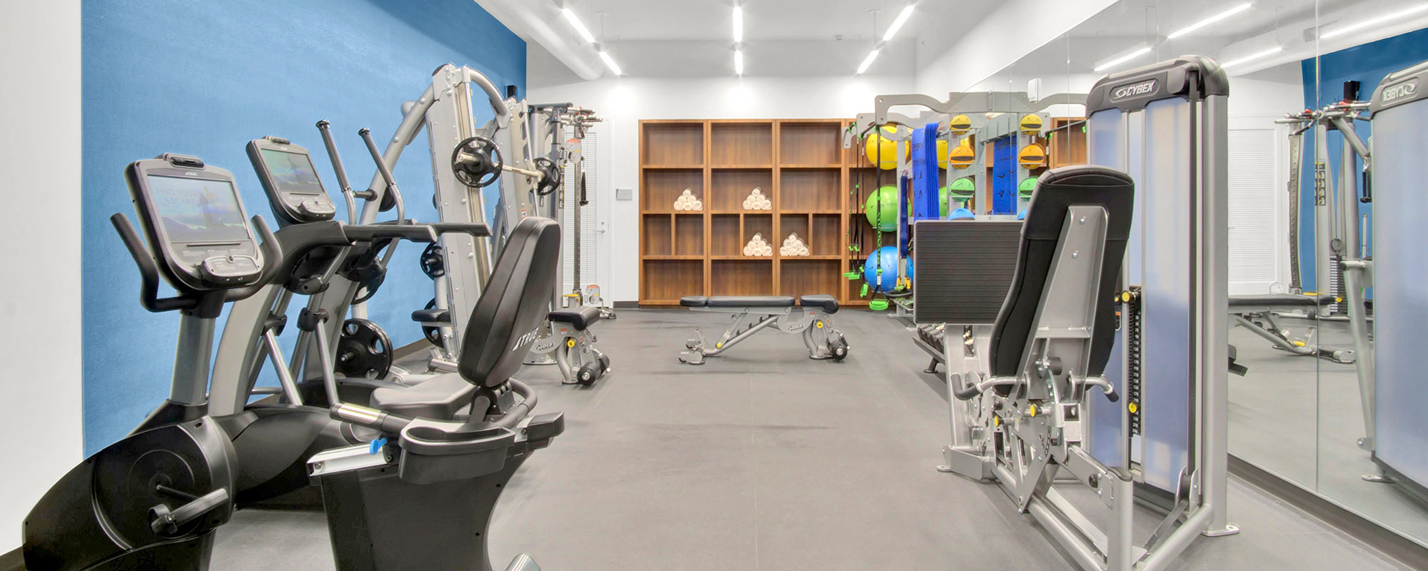 Gym amenities at Milton tower building