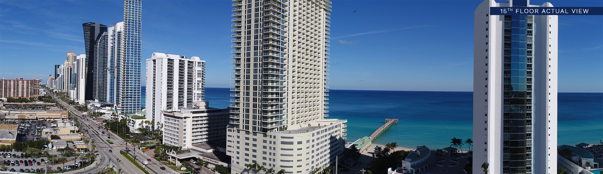 Panoramic view of sunny isles beach at floor 15th of Milton Tower