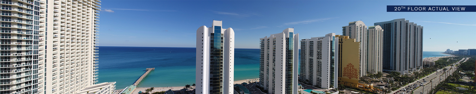 Panoramic view of sunny isles beach at floor 20th of Milton Tower